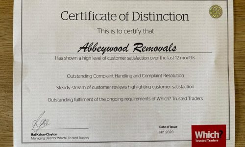 a certificate awarding Abbeywood Removals with a Which? Certificate of Distinction